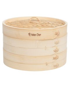 Helen  s Asian Kitchen Bamboo Steamer with Lid, Set of 3, 10in