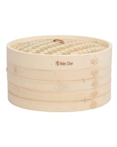 Helen  s Asian Kitchen Bamboo Steamer with Lid, Set of 3, 12in