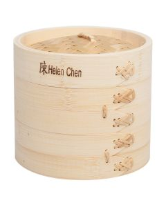 Helen  s Asian Kitchen Bamboo Steamer with Lid, Set of 3, 6in